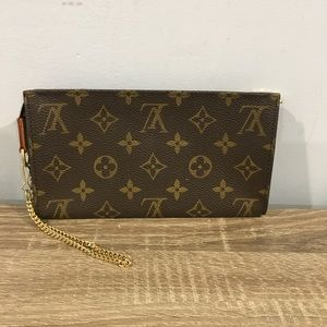 Authentic Louis Vuitton monogram clutch with chain